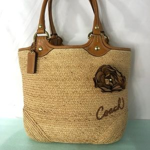 RARE COACH NATURAL STRAW&Brown Leather Floral Bag